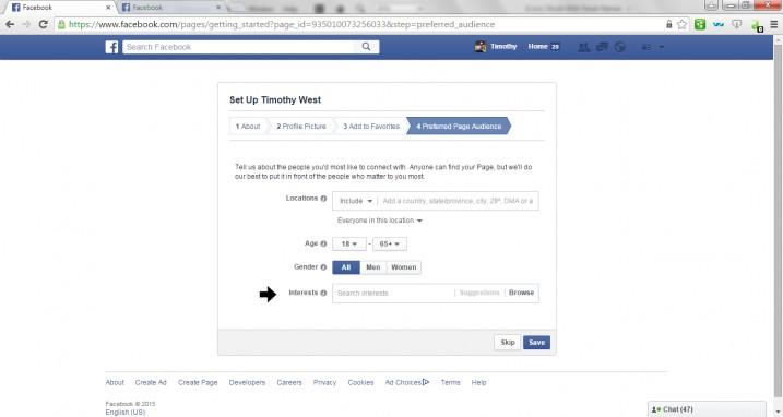 Create Facebook Page Step 7
