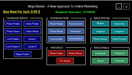Ninja Blaster Menu